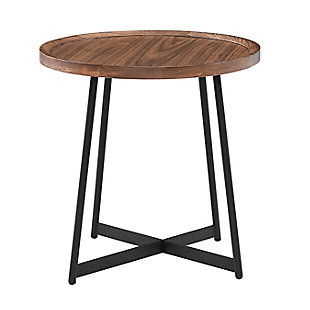 "Niklaus Niklaus 22"" Round Side Table in American Walnut and Black, , large"