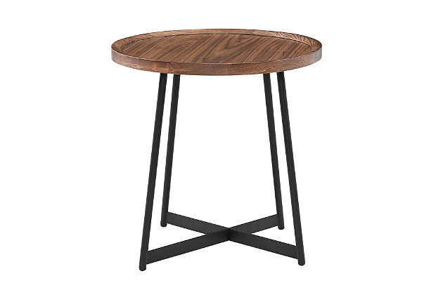 """Niklaus Niklaus 22"""" Round Side Table in American Walnut and Black, , large"""