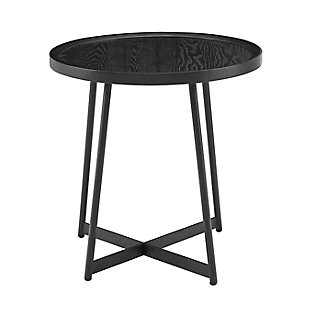"Niklaus Niklaus 22"" Round Side Table in Black Ash Wood and Black, , rollover"