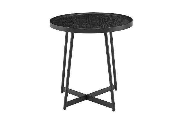 "Niklaus Niklaus 22"" Round Side Table in Black Ash Wood and Black, , large"