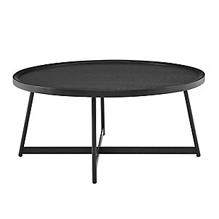 "Niklaus Niklaus 35"" Round Coffee Table in Black Ash Wood and Black, , rollover"