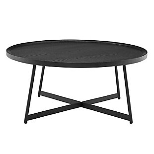 "Niklaus Niklaus 35"" Round Coffee Table in Black Ash Wood and Black, , large"