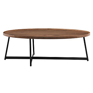 "Niklaus Niklaus 47"" Oval Coffee Table in American Walnut and Black, Walnut, rollover"