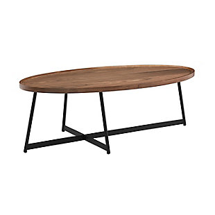 "Niklaus Niklaus 47"" Oval Coffee Table in American Walnut and Black, Walnut, large"