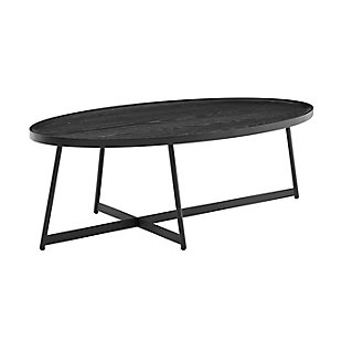 "Niklaus Niklaus 47"" Oval Coffee Table in Black Ash Wood and Black, Black, large"