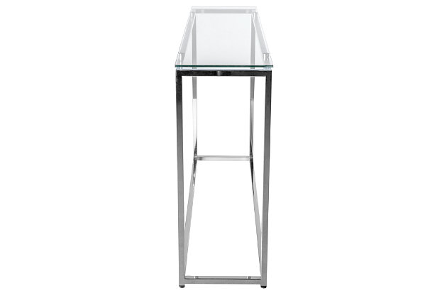 Sandor Sandor Long Conosole Table with Clear Tempered Glass Top and Chrome Frame, , large