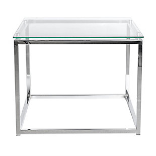 Sandor Sandor Rectangular Side Table with Clear Tempered Glass Top and Chrome Frame, , rollover