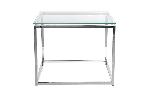 Sandor Sandor Rectangular Side Table with Clear Tempered Glass Top and Chrome Frame, , large