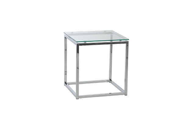Sandor Sandor Square Side Table in Clear Glass with Chrome Base, , large