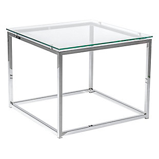 Sandor Sandor Square Side Table with Clear Tempered Glass Top and Chrome Frame, , rollover