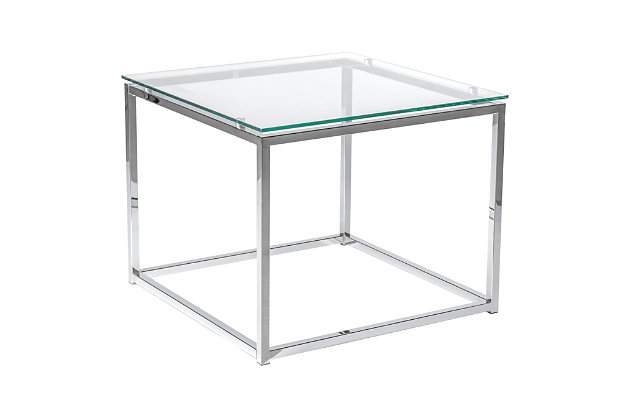 Sandor Sandor Square Side Table with Clear Tempered Glass Top and Chrome Frame, , large