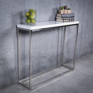 Teresa Teresa Console Table in White Lacquer with Polished Stainless Steel Frame, Stainless Steel, rollover