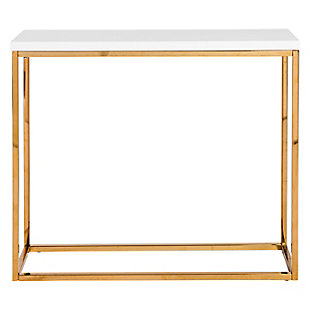 Teresa Teresa Console Table in White Lacquer with Polished Stainless Steel Frame, White, rollover