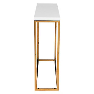 Teresa Teresa Console Table in White Lacquer with Polished Stainless Steel Frame, White, large