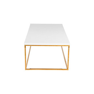 Teresa Teresa Rectangular Coffee Table in High Gloss White with Brushed Gold Stainless Steel Base, , rollover