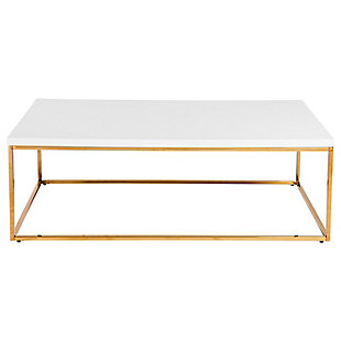 Teresa Teresa Rectangular Coffee Table in High Gloss White with Brushed Gold Stainless Steel Base, , large