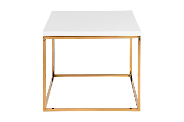 Teresa Teresa Side Table in White with Brushed Gold Stainless Steel Frame, , large