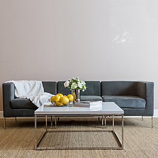 Teresa Teresa Square Coffee Table in White with Brushed Gold Stainless Steel Frame, White, rollover