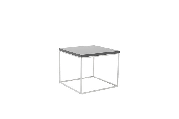 Teresa Teresa Square Side Table in Gray with Polished Stainless Steel Base, Gray, large