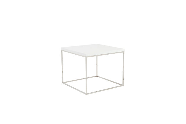 Teresa Teresa Square Side Table in White with Polished Stainless Steel Base, White, large