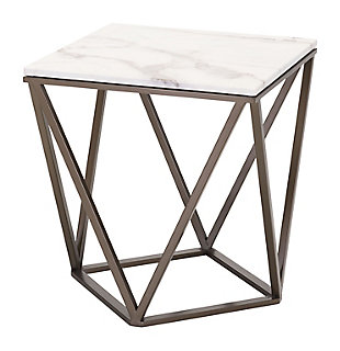 ZUO Modern Tintern End Table Stone and Antiqued Brass, , large