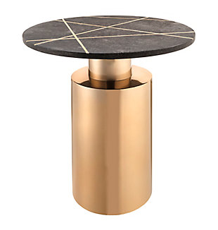 Terzo Black Marble Side Table, Black, large