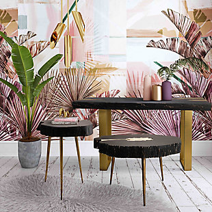 Timber Black and Brass Side Table, Black, rollover