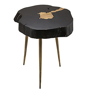 Timber Black and Brass Side Table, Black, large