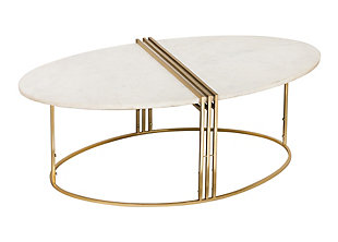Caleb Oval White Marble Cocktail Table, , large