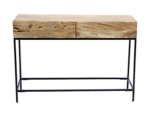 The Urban Port Mango Wood and Metal Console Table with Two Drawers, , rollover