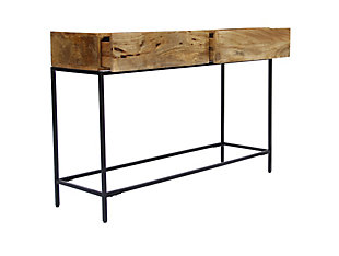 The Urban Port Mango Wood and Metal Console Table with Two Drawers, , large