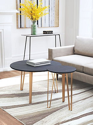 Zuo Modern Somme Accent Table Set, Black, rollover