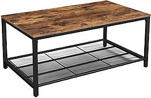 VASAGLE Coffee Table with Dense Mesh Shelf, , large