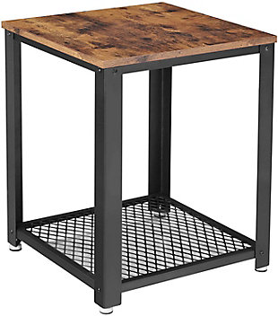 VASAGLE Industrial 2-Tier End Table with Metal Frame, , large