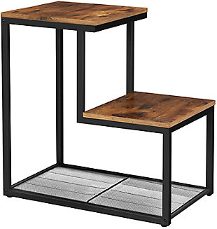 VASAGLE Indestic 2-Tier End Table with Mesh Shelf, , large
