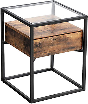 VASAGLE Glaral Side Table with Tempered Glass Top and Storage Drawer, , large