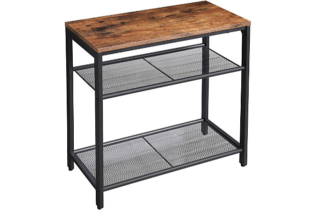 VASAGLE Indestic 3-Tier Side Table with Mesh Shelves, , large