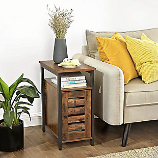VASAGLE Lowell Side Table with Cabinet and Open Shelf, , rollover