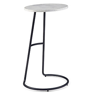Simpli Home Aspen and Metal 16 inch Wide Round Modern Marble Side Table in White, , large