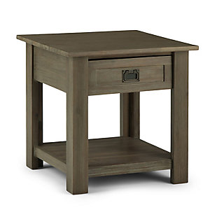 "Monroe Solid Acacia Wood 22"" Rustic End Table, , large"