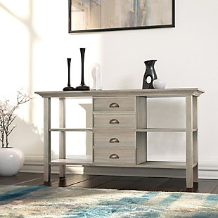 "Redmond Solid Wood 54"" Rustic Console Sofa Table, Distressed Gray, rollover"