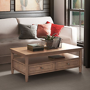 """Warm Shaker Solid Wood 48"""" Rustic Coffee Table, , rollover"""