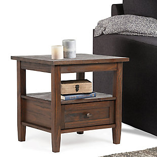 "Warm Shaker Solid Wood 20"" Rustic End Table, , rollover"