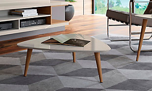 Manhattan Comfort Utopia Low Triangle End Table in Off White, Off White, rollover