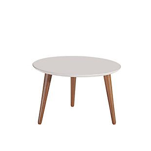 Manhattan Comfort Moore Round Mid-High Coffee Table in Off White, Off White, large