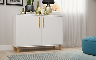 Manhattan Comfort Herald Double Side Cabinet in White, White, rollover