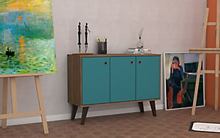 Manhattan Comfort Bromma Sideboard in Oak and Aqua Blue, Aqua Blue, rollover