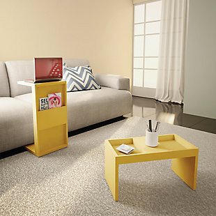 Manhattan Comfort Marine Coffee and Side Table - Set of 2 in Yellow, Yellow, rollover