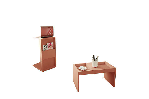 Manhattan Comfort Marine Coffee and Side Table - Set of 2 in Ceramic Pink, Pink, large