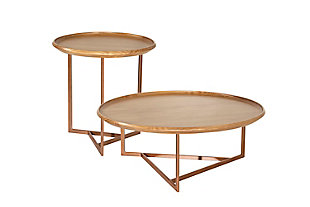Manhattan Comfort Knickerbocker Accent Table Set of 2 in Cinnamon, , large